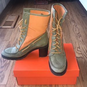 Army green and orange hunter boots.